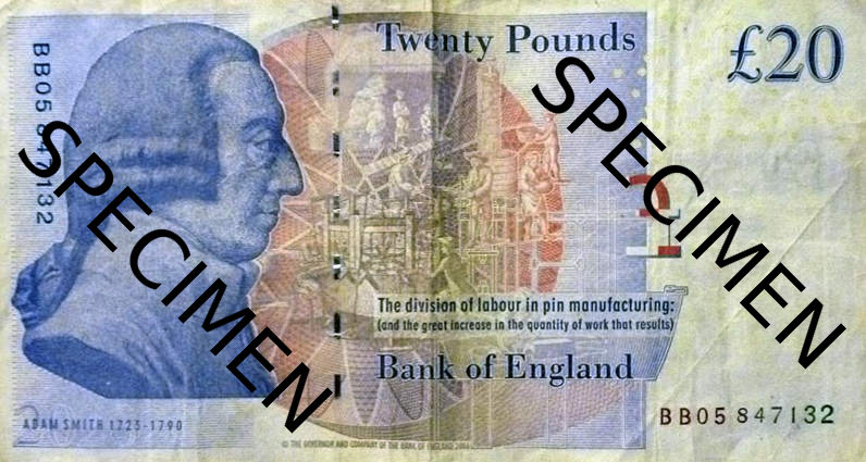 "£20 BANKNOTE:  Adam Smith, ""one of the fathers of modern economics"""